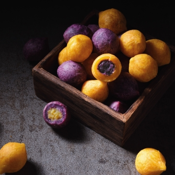 Fried Sweet Potato Balls (Golden & Purple)