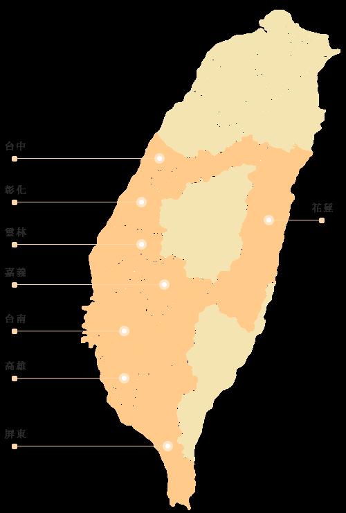 瓜瓜園の台湾各地にある契約エリア